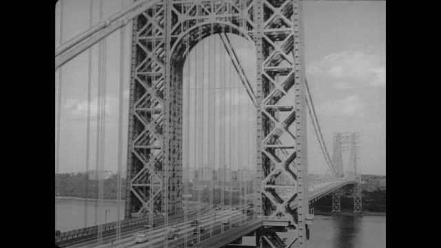 1954 traffic crosses the george washington bridge - 1954 stock videos & royalty-free footage