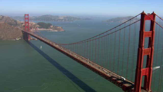 Traffic crosses the Golden Gate Bridge.