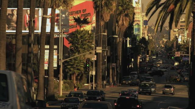 t/l ws traffic driving on hollywood boulevard past palm trees and billboards / hollywood, california, usa - 2007 bildbanksvideor och videomaterial från bakom kulisserna