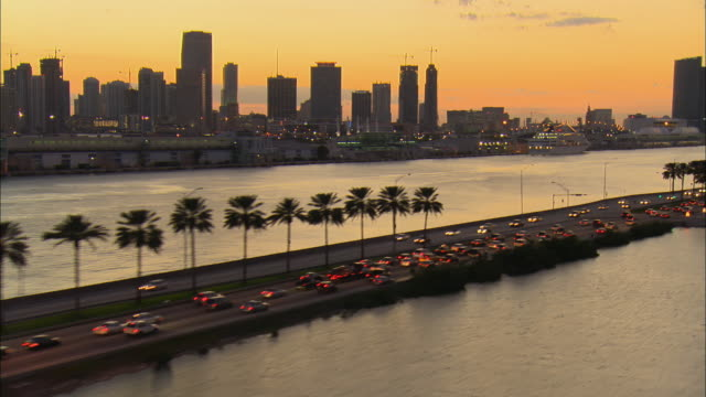 aerial ws traffic driving on macarthur causeway past palm trees and city skyline / miami, florida, usa - マイアミ点の映像素材/bロール