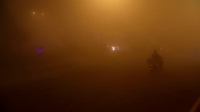 Traffic During Foggy Night Time Lapse