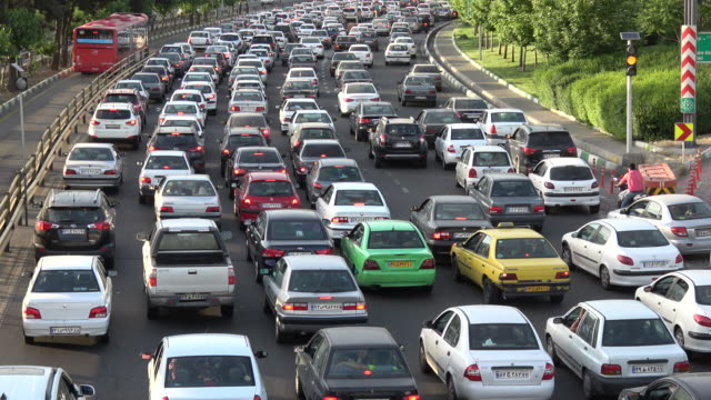 traffic during rush hour in tehran - iran stock videos & royalty-free footage
