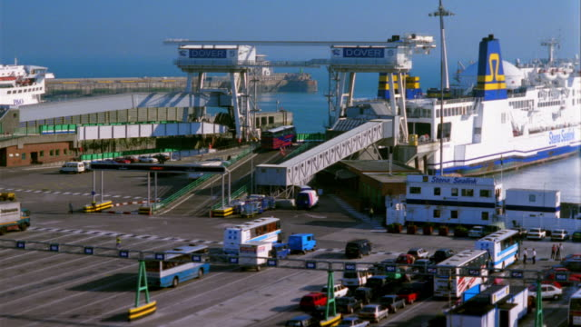 t/l, ms, ha, traffic embarking on stena sealink ferry, ferry terminal, dover, england - western script stock videos & royalty-free footage