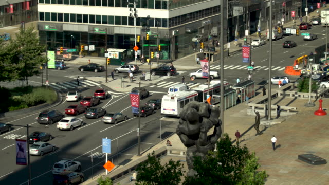 traffic flow in downtown, philadelphia - center city philadelphia stock videos and b-roll footage