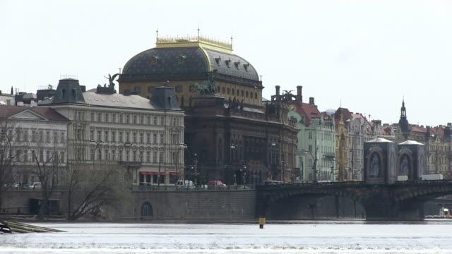 ws traffic flowing on legions bridge near national theatre / prague, hlavni mesto praha, czech republic - czech culture stock videos & royalty-free footage
