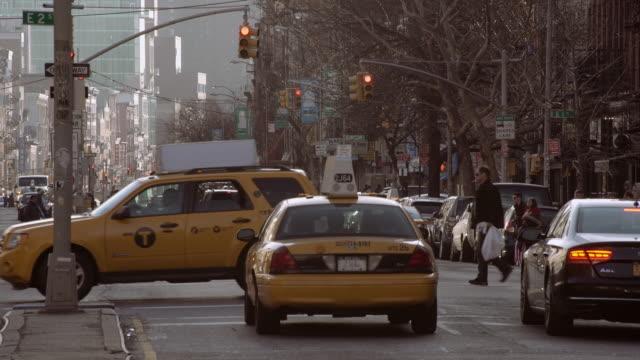Traffic Heading Downtown on Bowery Street in Manhattan