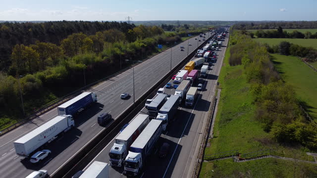 traffic held up in congestion on the m1 motorway, hertfordshire. - england stock videos & royalty-free footage