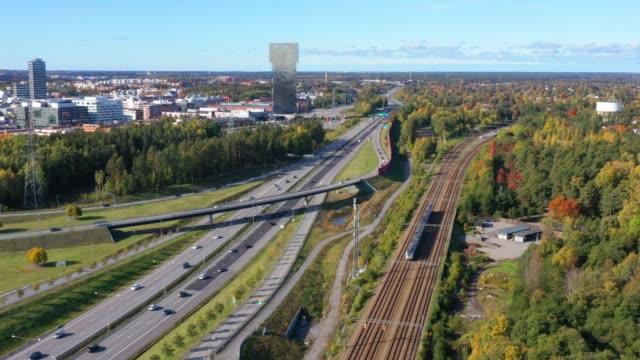 traffic highway intersection, railway, kista - sollentuna, stockholm - rail transportation stock videos & royalty-free footage