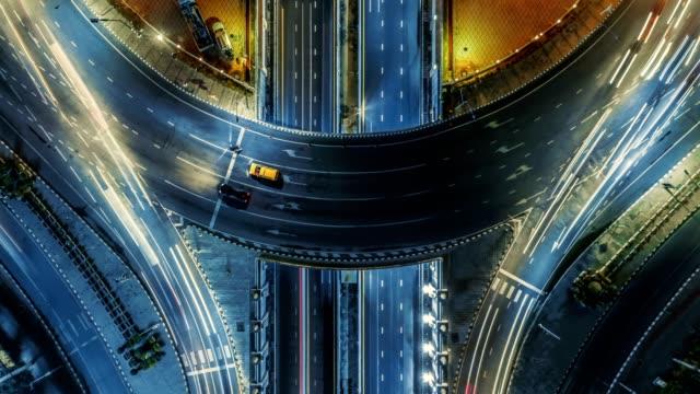 traffic in bangkok at night . - roundabout stock videos & royalty-free footage