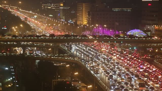 Traffic in Beijing rush hour at Beijing Guomao CBD area on November 28 2014