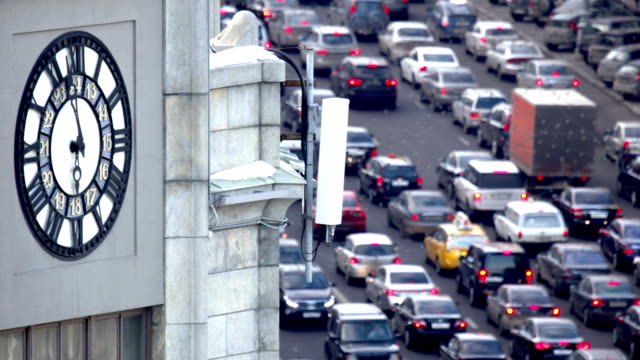 traffic in big city - clock tower stock videos & royalty-free footage
