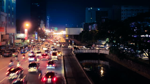 Traffic in Busy Asian City, Jakarta at Night, HD Video