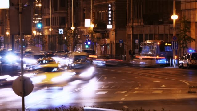 Traffic in capital city at night