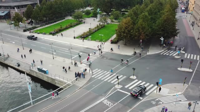 traffic in central stockholm seen from above - zebra crossing stock videos & royalty-free footage