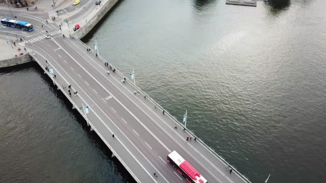 traffic in central stockholm seen from above - stockholm stock videos & royalty-free footage