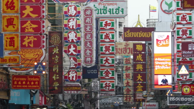 traffic in china town of bangkok - chinese ethnicity stock videos & royalty-free footage