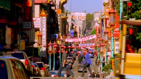 ws, traffic in chinatown, san francisco, california, usa - chinatown stock videos & royalty-free footage