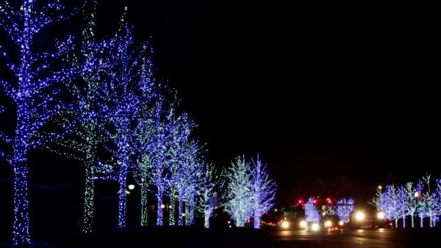 トラフィックを施した street - クリスマスライト点の映像素材/bロール