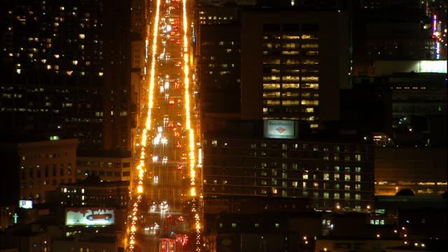 T/L, WS, HA, traffic in downtown at night, California, USA