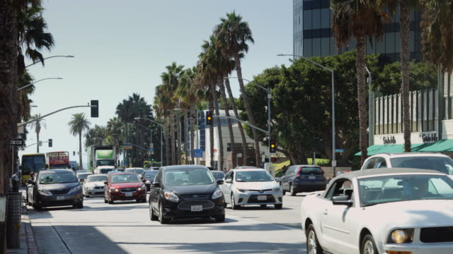 traffic in downtown santa monica - bicycle parking station stock videos and b-roll footage