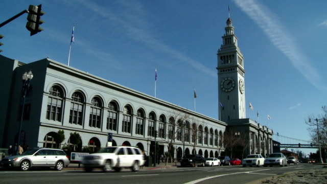 MS, Traffic in front of ferry building, San Francisco, California, USA