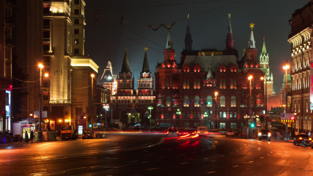 t/l traffic in front of the kremlin - russia stock videos & royalty-free footage