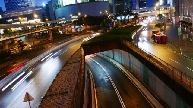 traffic in hong kong,time lapse 4k , Tilt up.