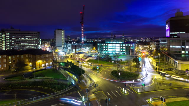 traffic in leeds, england at night - long exposure stock videos & royalty-free footage