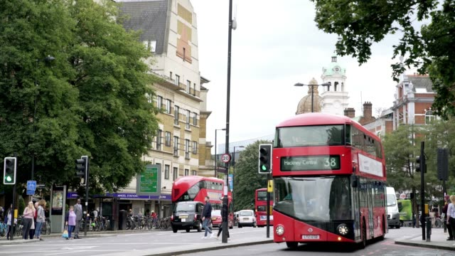traffic in london islington angel district - double decker bus stock videos & royalty-free footage