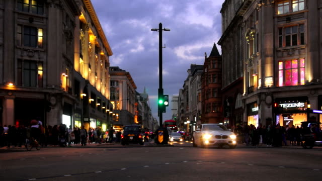Traffic In London Oxford Circus At The Blue Hour