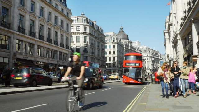 traffic in london regent street (uhd) - london england stock videos & royalty-free footage