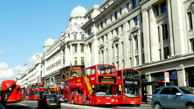 t/l traffic in london regent street (4k/uhd to hd) - double decker bus stock videos & royalty-free footage