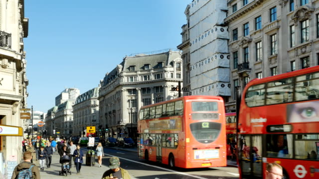 Traffic In London Regent Street (4K/UHD to HD)