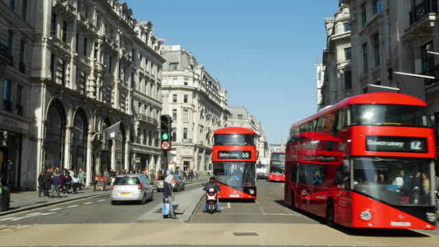 traffic in london regent street (uhd) - double decker bus stock videos & royalty-free footage