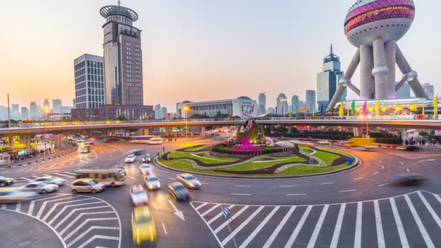 traffic in lujiazui time lapse - panning down