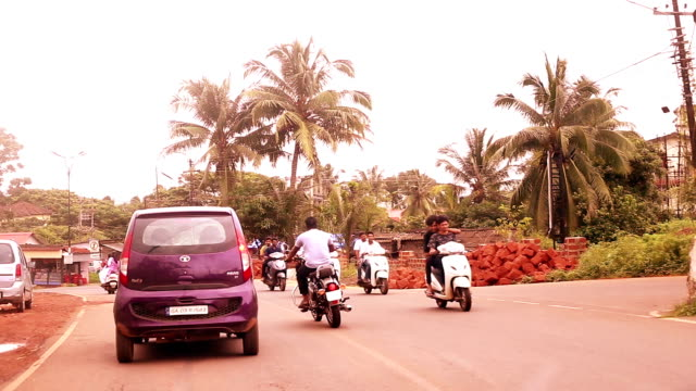 traffic in mapusa city in goa, india - motorbike stock videos & royalty-free footage