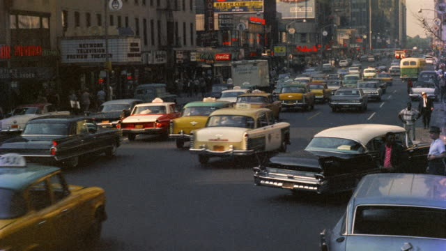 1958 ws tu traffic in midtown, new york city, new york, usa - 1958 stock videos & royalty-free footage