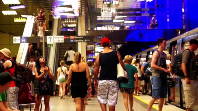Traffic In Munich Subway Station Time Lapse