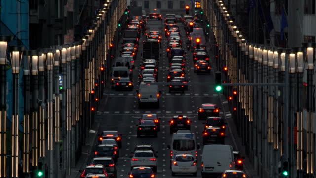 traffic in rue de la loi at dusk - belgium stock videos & royalty-free footage