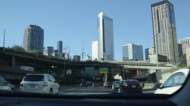 traffic in seattle, driving pov - car point of view stock videos & royalty-free footage