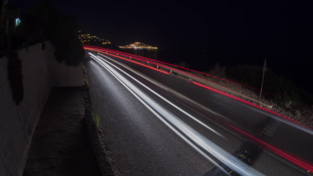 traffic in the city of peniscola at night - headlight stock videos & royalty-free footage