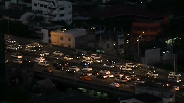traffic in the night - preserve stock videos and b-roll footage
