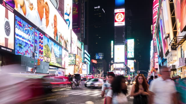 traffic in time square  at night,time lapse - traffic time lapse stock videos & royalty-free footage