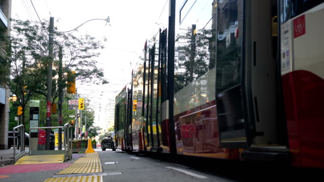 traffic in toronto downtown - public transport stock videos & royalty-free footage