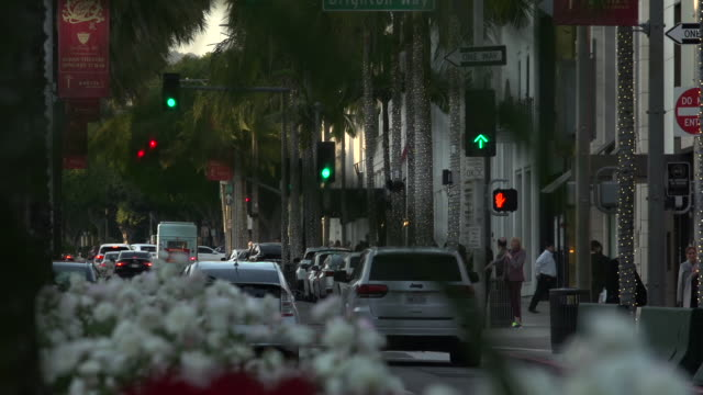 traffic intersecting on rodeo drive toward santa monica blvd at golden hour through flowers on the traffic divider in the foreground, beverly hills - traffic light stock videos & royalty-free footage