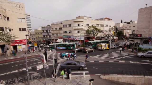 ws - traffic intersection in akko, israel, middle east - akko stock videos and b-roll footage