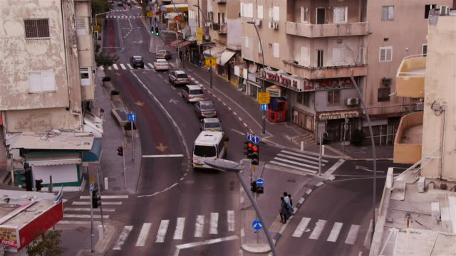 traffic intersection in haifa - haifa video stock e b–roll
