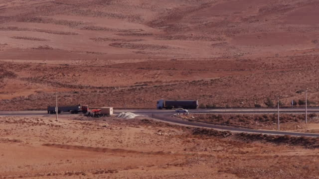Traffic intersection on the Kings Highway in Jordan, Middle East.