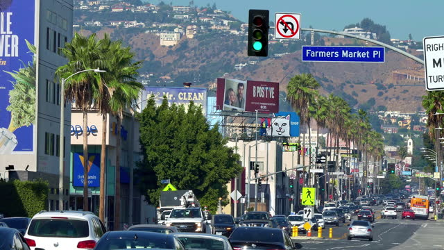 traffic jam and congestion during morning rush hour on fairfax avenue in los angeles, california, 4k - road signal stock videos & royalty-free footage