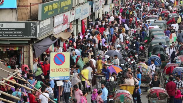 Traffic jam and peoples crowd seen at New Market area during the Ramadan in Dhaka Bangladesh on June 12 2018 Last 10 years in Dhaka average traffic...